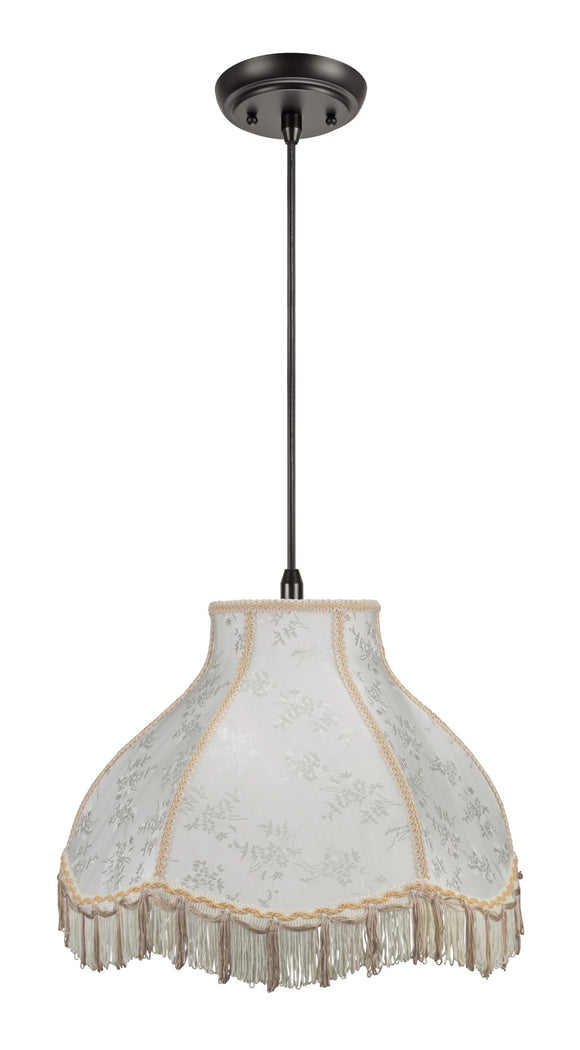 # 70043 1-Light Hanging Pendant Ceiling Light with Transitional Scallop Bell Fabric Lamp Shade in Beige with Fringe, 17