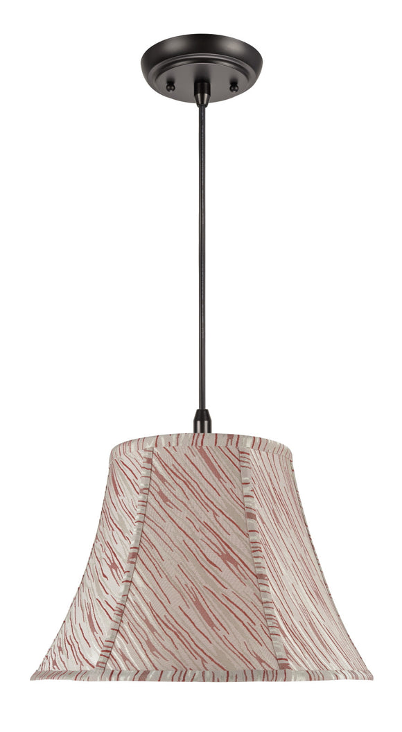# 70044  1-Light Hanging Pendant Ceiling Light with Transitional Bell Fabric Lamp Shade, Off White with Red Stripes, 13