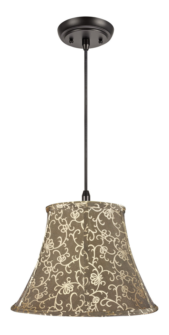 # 70045 1-Light Hanging Pendant Ceiling Light with Transitional Bell Fabric Lamp Shade in Light Gold with Design, 13