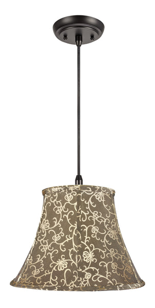 "# 70045 1-Light Hanging Pendant Ceiling Light with Transitional Bell Fabric Lamp Shade in Light Gold with Design, 13"" W"