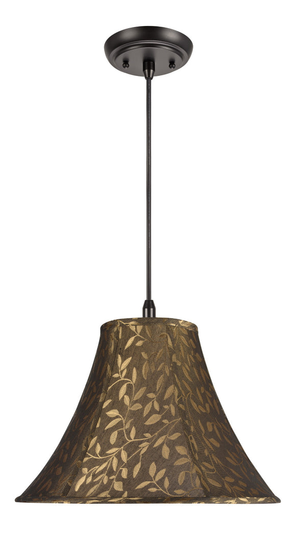 # 70046 1-Light Hanging Pendant Ceiling Light with Transitional Bell Fabric Lamp Shade, Brown with Leaf Design, 16