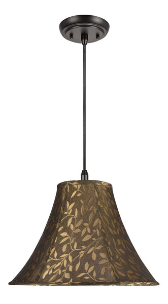 "# 70046 1-Light Hanging Pendant Ceiling Light with Transitional Bell Fabric Lamp Shade, Brown with Leaf Design, 16"" W"