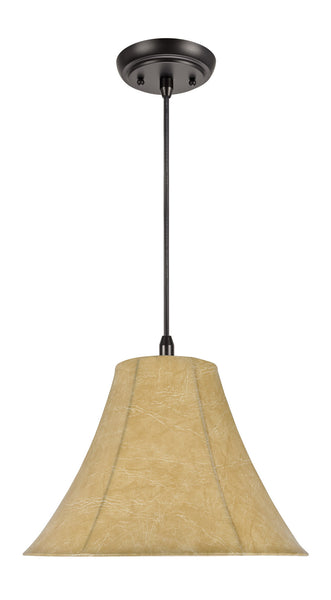 "# 70083  1-Light Hanging Pendant Ceiling Light with Transitional Bell Lamp Shade, Dust Grey Artificial Parchment, 16"" W"