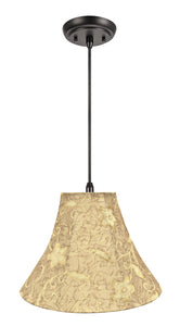 "# 70084-11 One-Light Hanging Pendant Ceiling Light with Transitional Bell Fabric Lamp Shade, Brown, 16"" width"