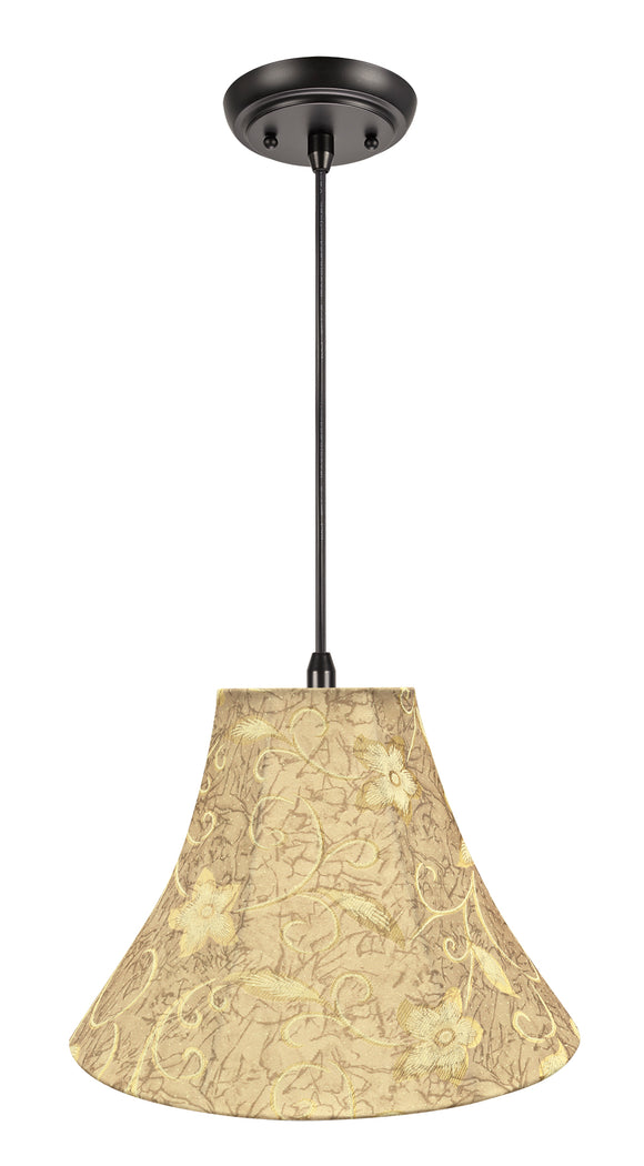 # 70084-11 One-Light Hanging Pendant Ceiling Light with Transitional Bell Fabric Lamp Shade, Brown, 16