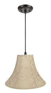 "# 70085-11 One-Light Hanging Pendant Ceiling Light with Transitional Bell Fabric Lamp Shade, Apricot, 16"" width"