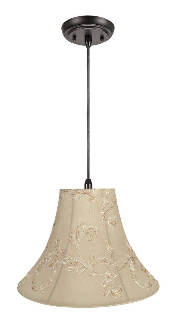 # 70085-11 One-Light Hanging Pendant Ceiling Light with Transitional Bell Fabric Lamp Shade, Apricot, 16