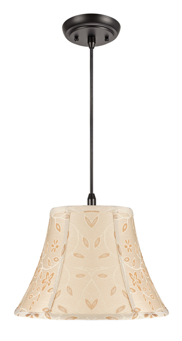 # 70091 1-Light Hanging Pendant Ceiling Light with Transitional Bell Fabric Lamp Shade, Gold  with Floral Design, 13