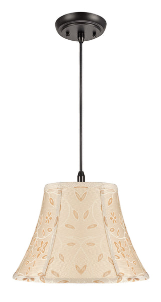 "# 70091 1-Light Hanging Pendant Ceiling Light with Transitional Bell Fabric Lamp Shade, Gold  with Floral Design, 13"" W"