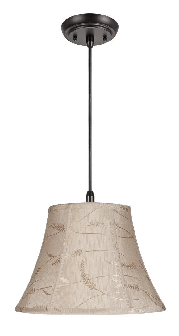 # 70092 1-Light Hanging Pendant Ceiling Light with Transitional Bell Fabric Lamp Shade, Oatmeal with Wheat Design, 13