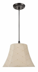 "# 70097-11 One-Light Hanging Pendant Ceiling Light with Transitional Bell Fabric Lamp Shade, Beige, 13"" width"
