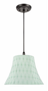 "# 70099-11 One-Light Hanging Pendant Ceiling Light with Transitional Bell Fabric Lamp Shade, Light Green, 13"" width"