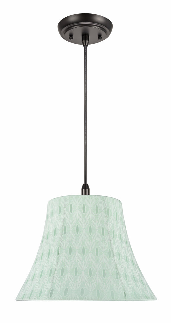 # 70099-11 One-Light Hanging Pendant Ceiling Light with Transitional Bell Fabric Lamp Shade, Light Green, 13