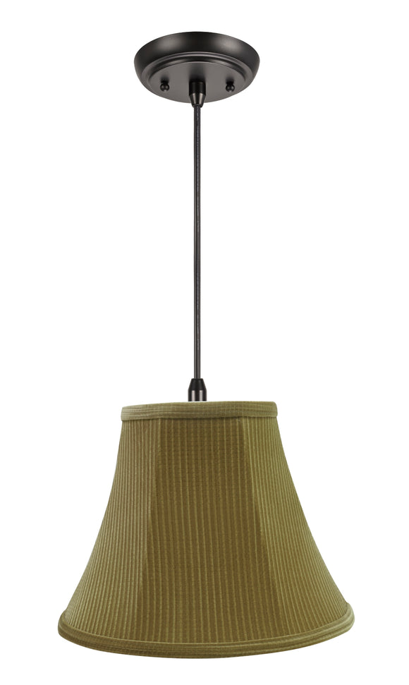 # 70159-11 One-Light Hanging Pendant Ceiling Light with Transitional Bell Fabric Lamp Shade, Brown-Green, 12
