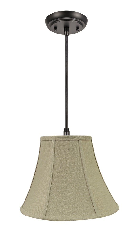 # 70160-11 One-Light Hanging Pendant Ceiling Light with Transitional Bell Fabric Lamp Shade, Beige, 12