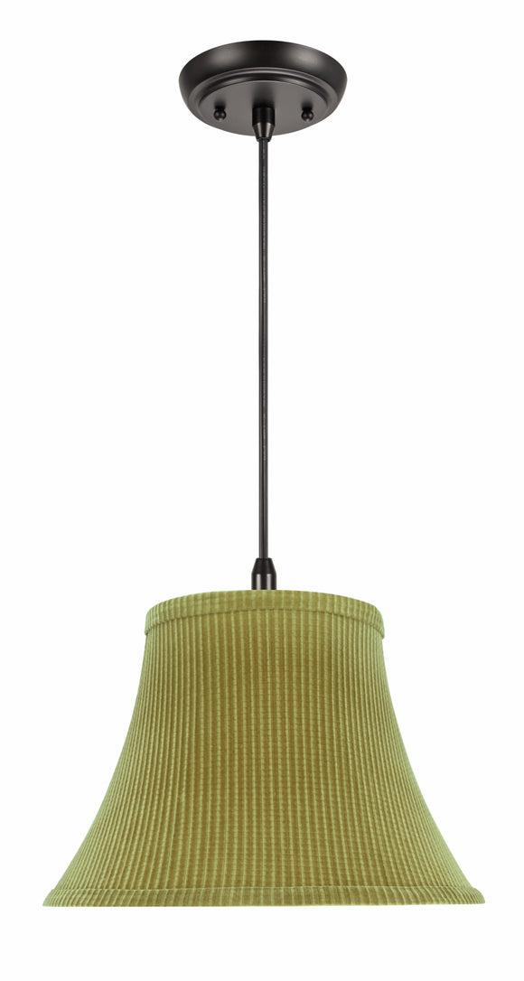 # 70211-11 One-Light Hanging Pendant Ceiling Light with Transitional Bell Fabric Lamp Shade, Brown-Green, 13
