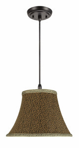"# 70212-11 One-Light Hanging Pendant Ceiling Light with Transitional Bell Fabric Lamp Shade, Leopard, 13"" width"