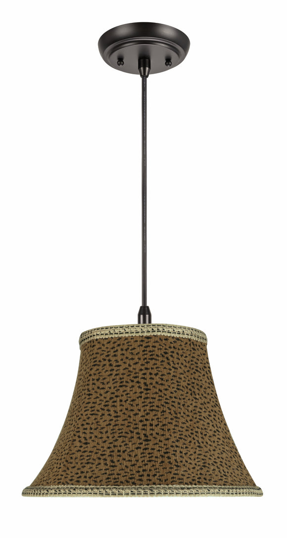 # 70212-11 One-Light Hanging Pendant Ceiling Light with Transitional Bell Fabric Lamp Shade, Leopard, 13
