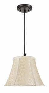 "# 70213-11 One-Light Hanging Pendant Ceiling Light with Transitional Bell Fabric Lamp Shade, Off White, 13"" width"