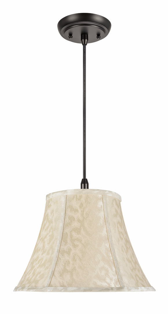 # 70213-11 One-Light Hanging Pendant Ceiling Light with Transitional Bell Fabric Lamp Shade, Off White, 13