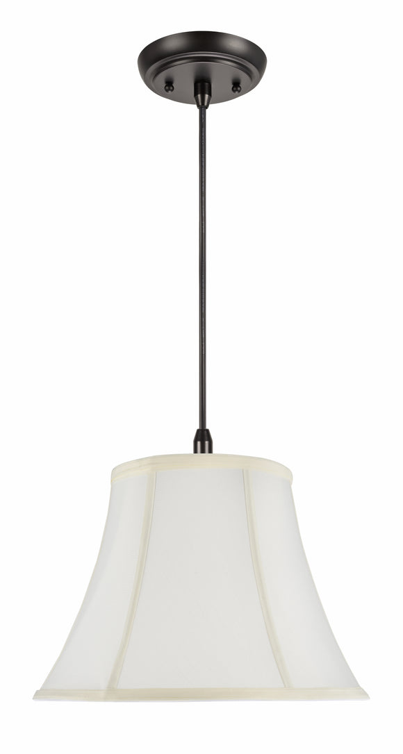 # 70216-11 One-Light Hanging Pendant Ceiling Light with Transitional Bell Fabric Lamp Shade, Off White, 13