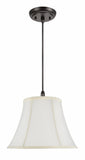 "# 70216-11 One-Light Hanging Pendant Ceiling Light with Transitional Bell Fabric Lamp Shade, Off White, 13"" width"