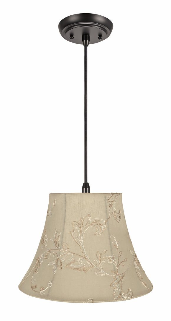# 70219-11 One-Light Hanging Pendant Ceiling Light with Transitional Bell Fabric Lamp Shade, Apricot, 13