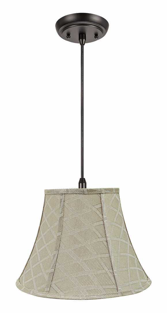 # 70222-11 One-Light Hanging Pendant Ceiling Light with Transitional Bell Fabric Lamp Shade, Off White, 13