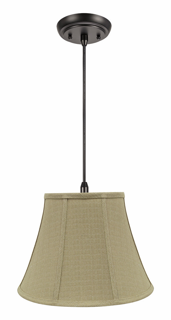 # 70223-11 One-Light Hanging Pendant Ceiling Light with Transitional Bell Fabric Lamp Shade, Beige, 13