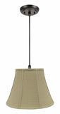 "# 70223-11 One-Light Hanging Pendant Ceiling Light with Transitional Bell Fabric Lamp Shade, Beige, 13"" width"