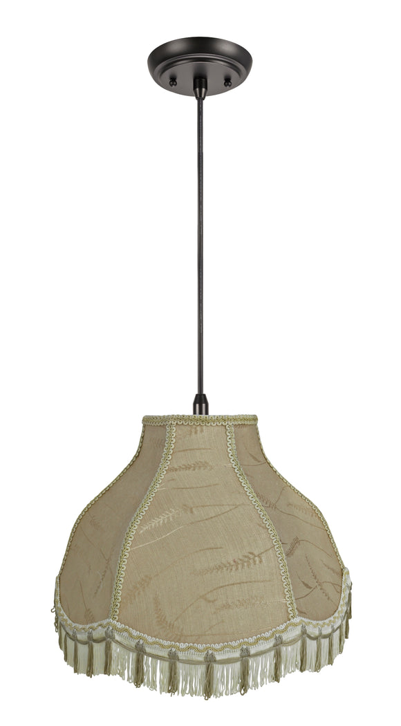 # 70301-11 One-Light Hanging Pendant Ceiling Light with Transitional Scallop Bell Fabric Lamp Shade, Off White, 17