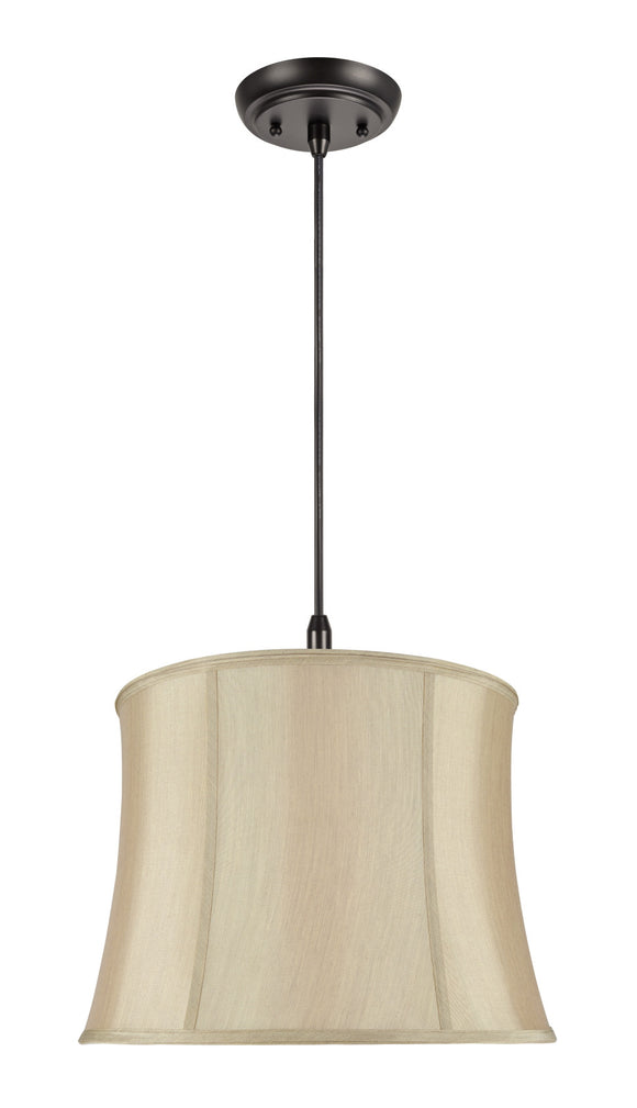 # 70021 2-Light Hanging Pendant Ceiling Light with Transitional Bell Fabric Lamp Shade, in Faux Silk Gold Taupe, 16