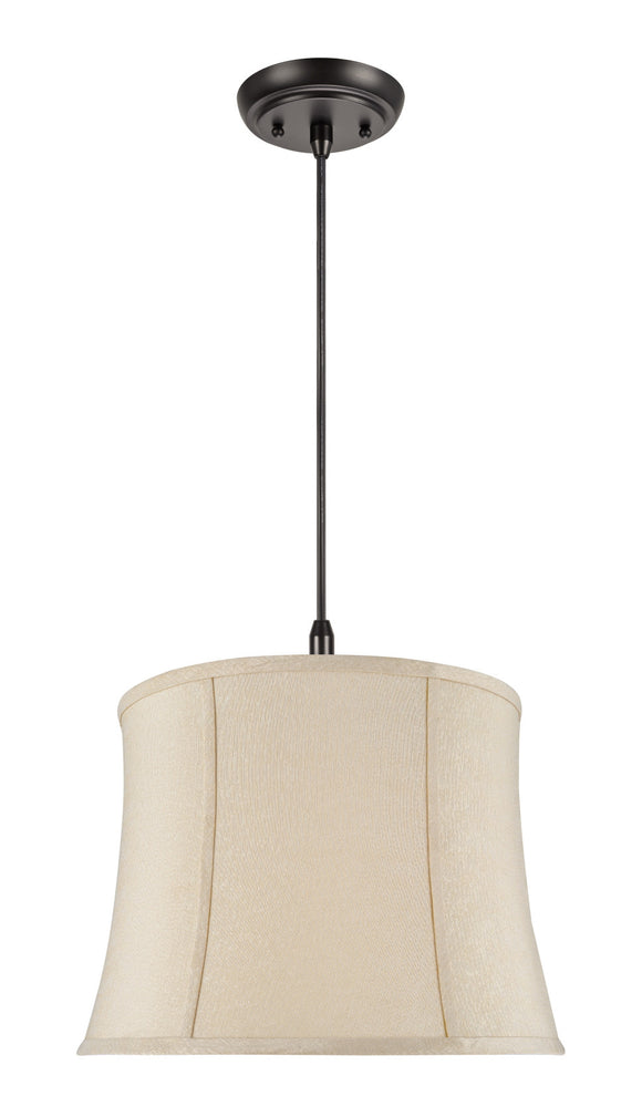 # 70022 2-Light Hanging Pendant Ceiling Light with Transitional Bell Fabric Lamp Shade, Creme Jacquard Fabric, 16