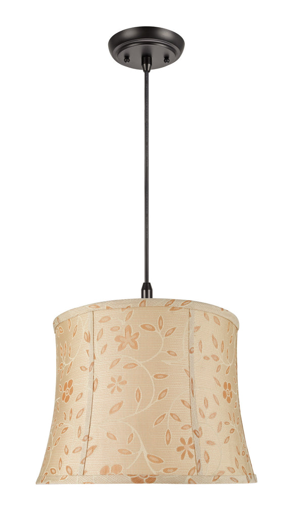 # 70023 2-Light Hanging Pendant Ceiling Light with Transitional Bell Fabric Lamp Shade, Gold with Floral Design, 16