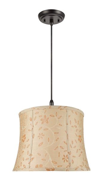 "# 70023 2-Light Hanging Pendant Ceiling Light with Transitional Bell Fabric Lamp Shade, Gold with Floral Design, 16"" W"