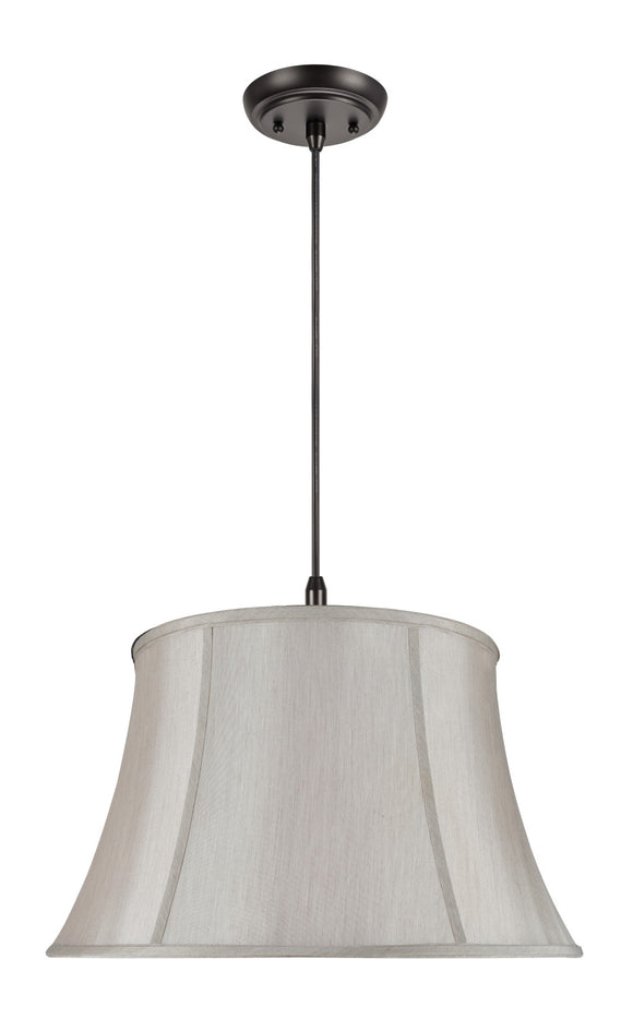 # 70024 2-Light Hanging Pendant Ceiling Light with Transitional Bell Fabric Lamp Shade, Gray Faux Silk Fabric, 19
