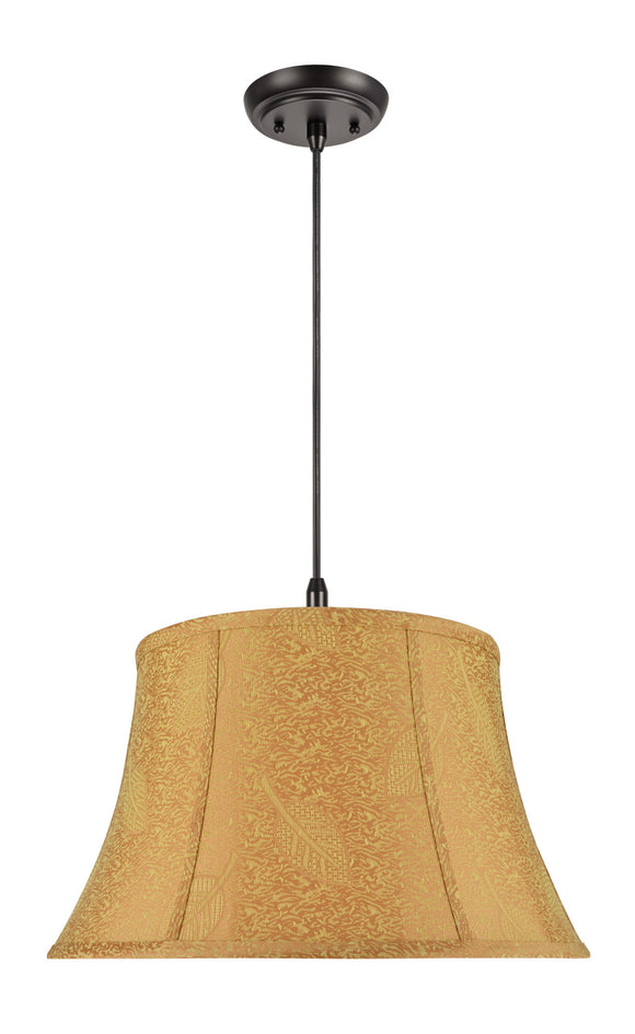 # 70025 2-Light Hanging Pendant Ceiling Light with Transitional Bell Fabric Lamp Shade, Pumpkin Gold - Leaf Design, 19