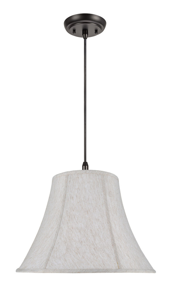 # 70026 2-Light Hanging Pendant Ceiling Light with a Transitional Bell Shaped Fabric Lamp Shade in Linen White, 18
