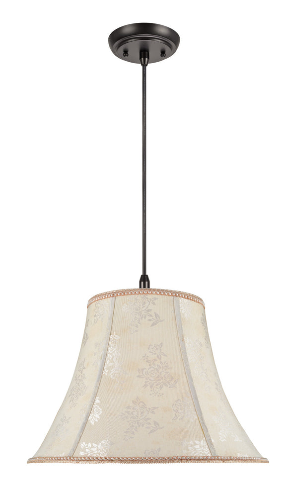 # 70027  2-Light Hanging Pendant Ceiling Light with Transitional Bell Fabric Lamp Shade, Off White with Floral Design, 18