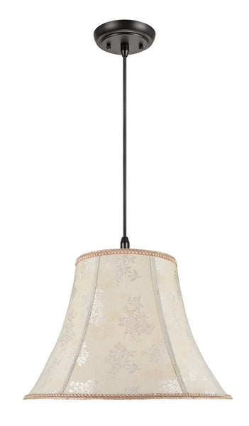 "# 70027  2-Light Hanging Pendant Ceiling Light with Transitional Bell Fabric Lamp Shade, Off White with Floral Design, 18"" W"