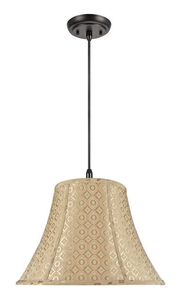 # 70028  2-Light Hanging Pendant Ceiling Light with Transitional Bell Fabric Lamp Shade, Gold Geometric Design, 18