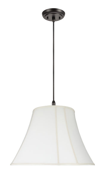 "# 70029 2-Light Hanging Pendant Ceiling Light with Transitional Bell Curve Corner Fabric Lamp Shade, Off White, 18"" W"