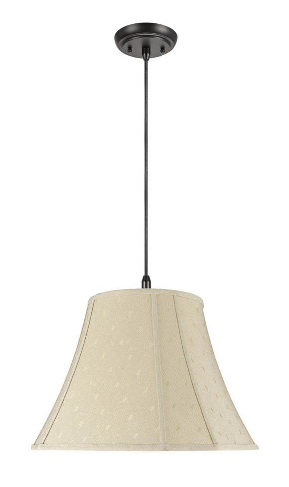 # 70030  2-Light Hanging Pendant Ceiling Light with Transitional Bell Curve Corner Fabric Lamp Shade, Butter Creme, 18