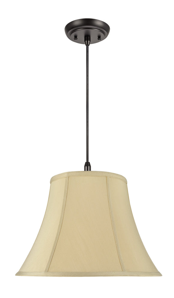 # 70036 2-Light Hanging Pendant Ceiling Light with Transitional Hexagon Bell Fabric Lamp Shade, Beige Sateen Fabric, 16