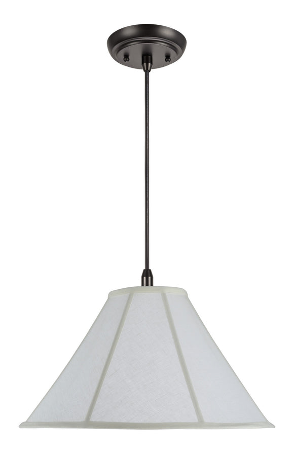 # 70042  2-Light Hanging Pendant Ceiling Light with Transitional Bell Fabric Lamp Shade in Off White Linen, 18