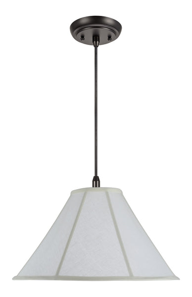 "# 70042  2-Light Hanging Pendant Ceiling Light with Transitional Bell Fabric Lamp Shade in Off White Linen, 18"" Wide"
