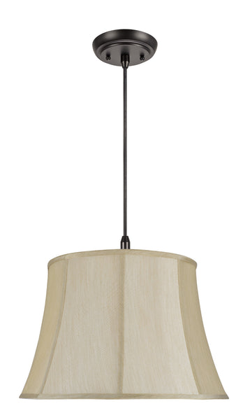 "# 70121 2-Light Hanging Pendant Ceiling Light with a Transitional Bell Fabric Lamp Shade, Beige Faux Silk Fabric, 18"" W"
