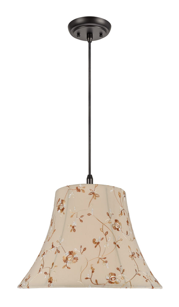 # 70141 2-Light Hanging Pendant Ceiling Light with Transitional Bell Fabric Lamp Shade, Apricot Floral Design, 18