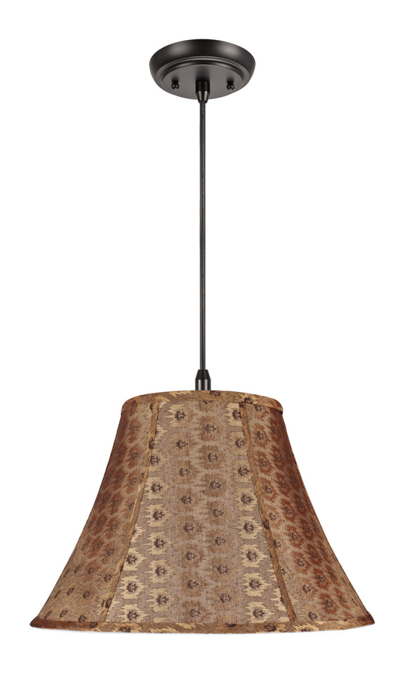 # 70182 2-Light Hanging Pendant Ceiling Light with Transitional Bell Fabric Lamp Shade, Pumpkin Gold Textured Fabric, 17