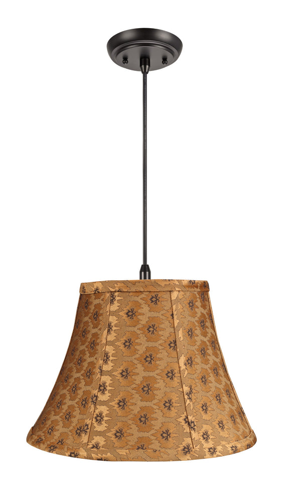 # 70018 1-Light Hanging Pendant Ceiling Light with Transitional Bell Fabric Lamp Shade, Pumpkin Gold - Black accents, 13